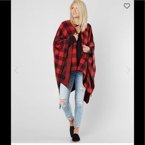 Vintage Wool Poncho Coat Plaid Red Black